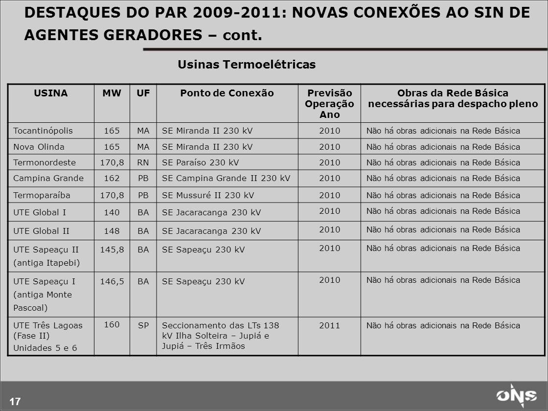 DESTAQUES DO PAR 2009-2011: NOVAS CONEXÕES AO SIN DE AGENTES GERADORES – cont.