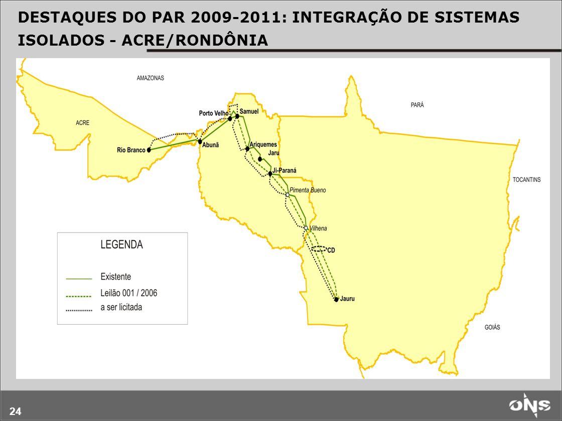 DESTAQUES DO PAR 2009-2011: INTEGRAÇÃO DE SISTEMAS ISOLADOS - ACRE/RONDÔNIA