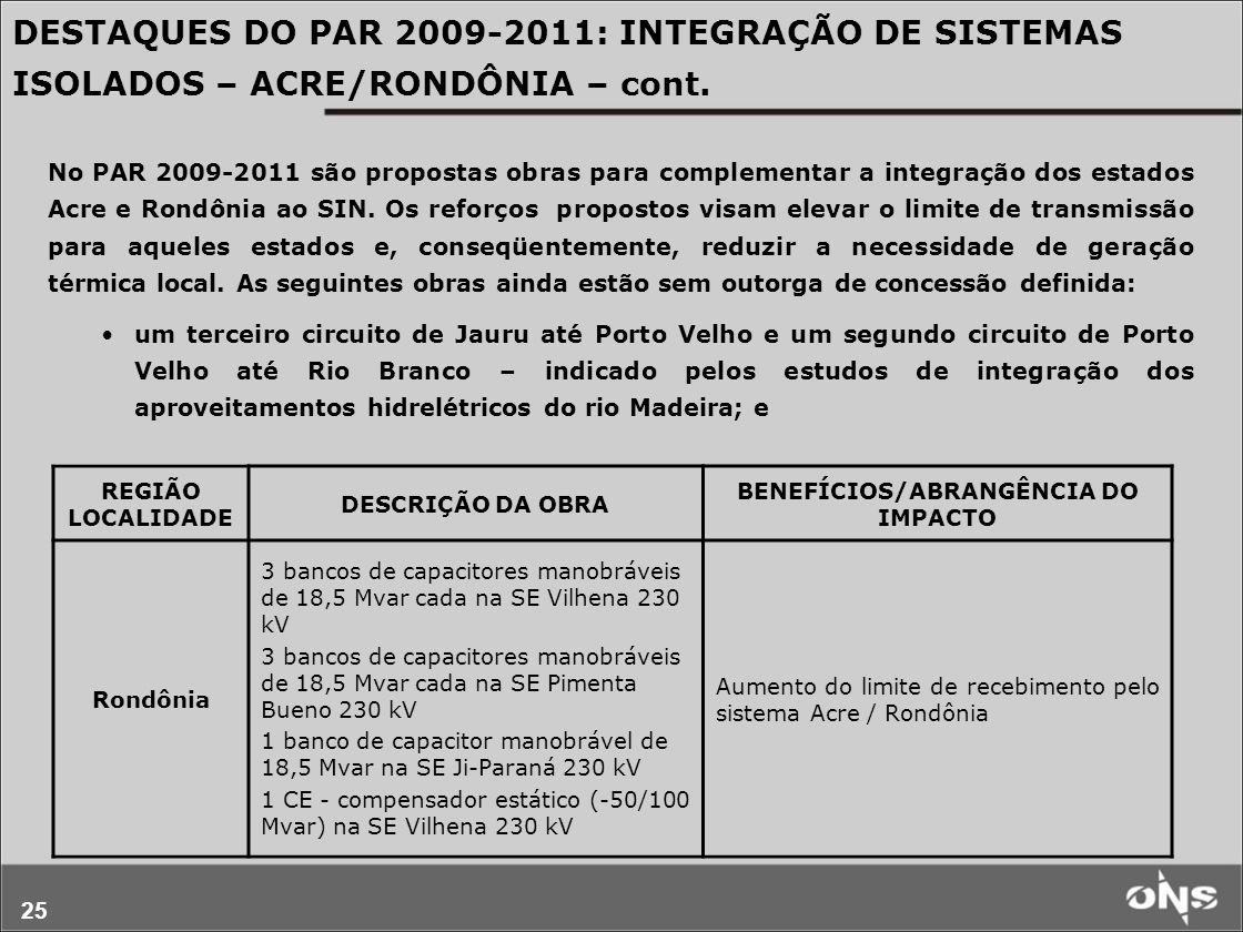 BENEFÍCIOS/ABRANGÊNCIA DO IMPACTO