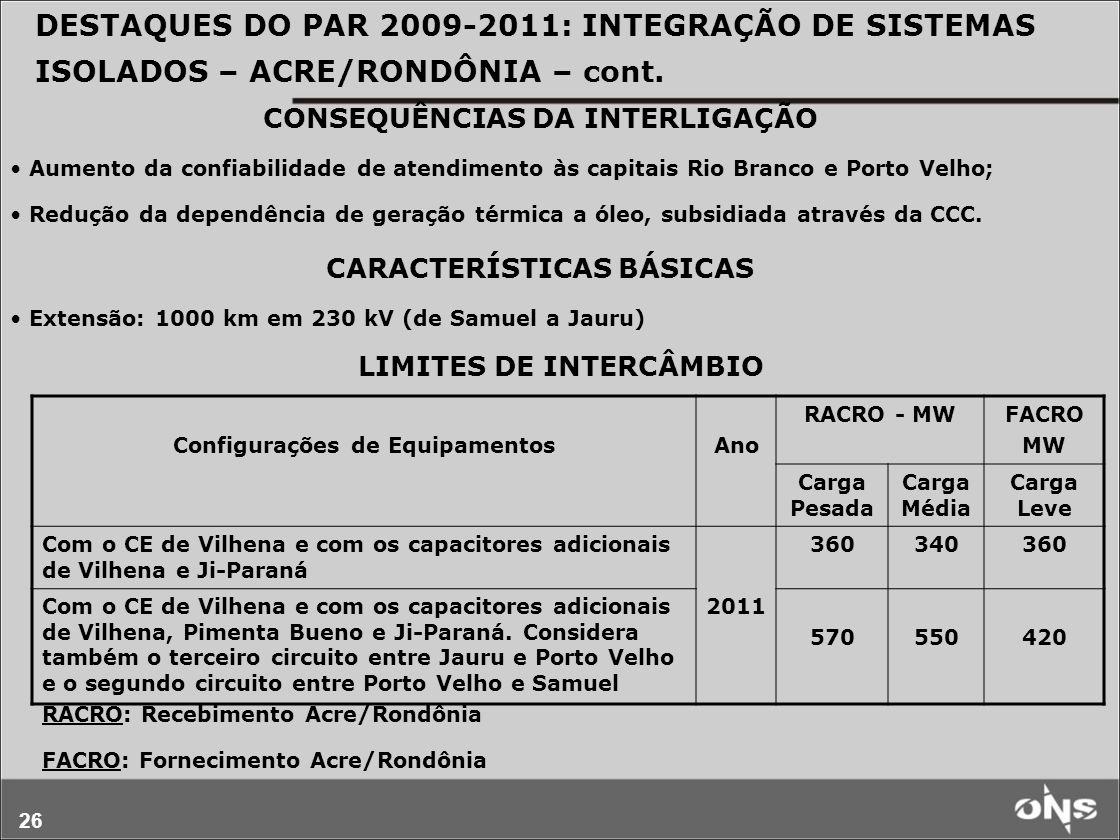 DESTAQUES DO PAR 2009-2011: INTEGRAÇÃO DE SISTEMAS ISOLADOS – ACRE/RONDÔNIA – cont.