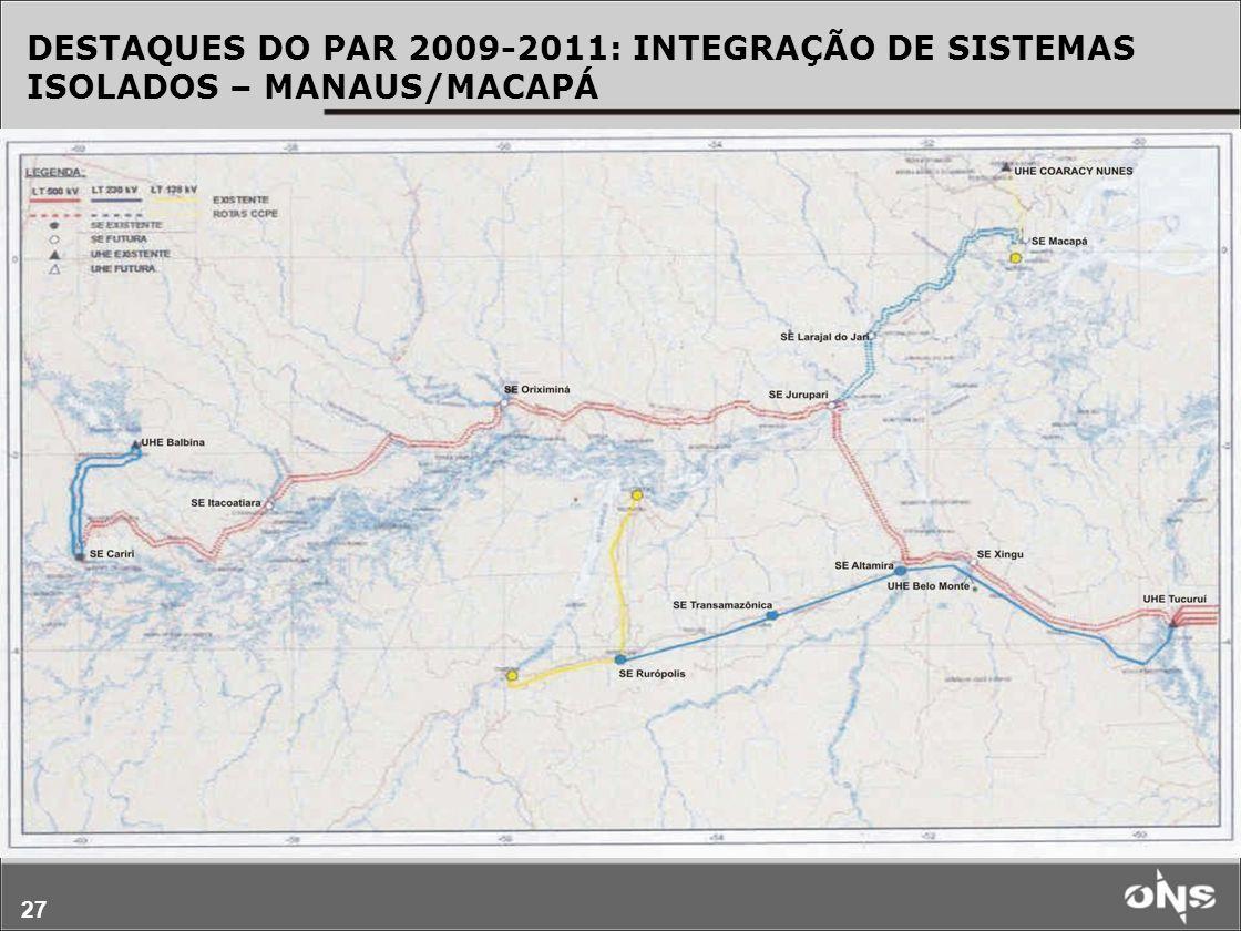 DESTAQUES DO PAR 2009-2011: INTEGRAÇÃO DE SISTEMAS ISOLADOS – MANAUS/MACAPÁ