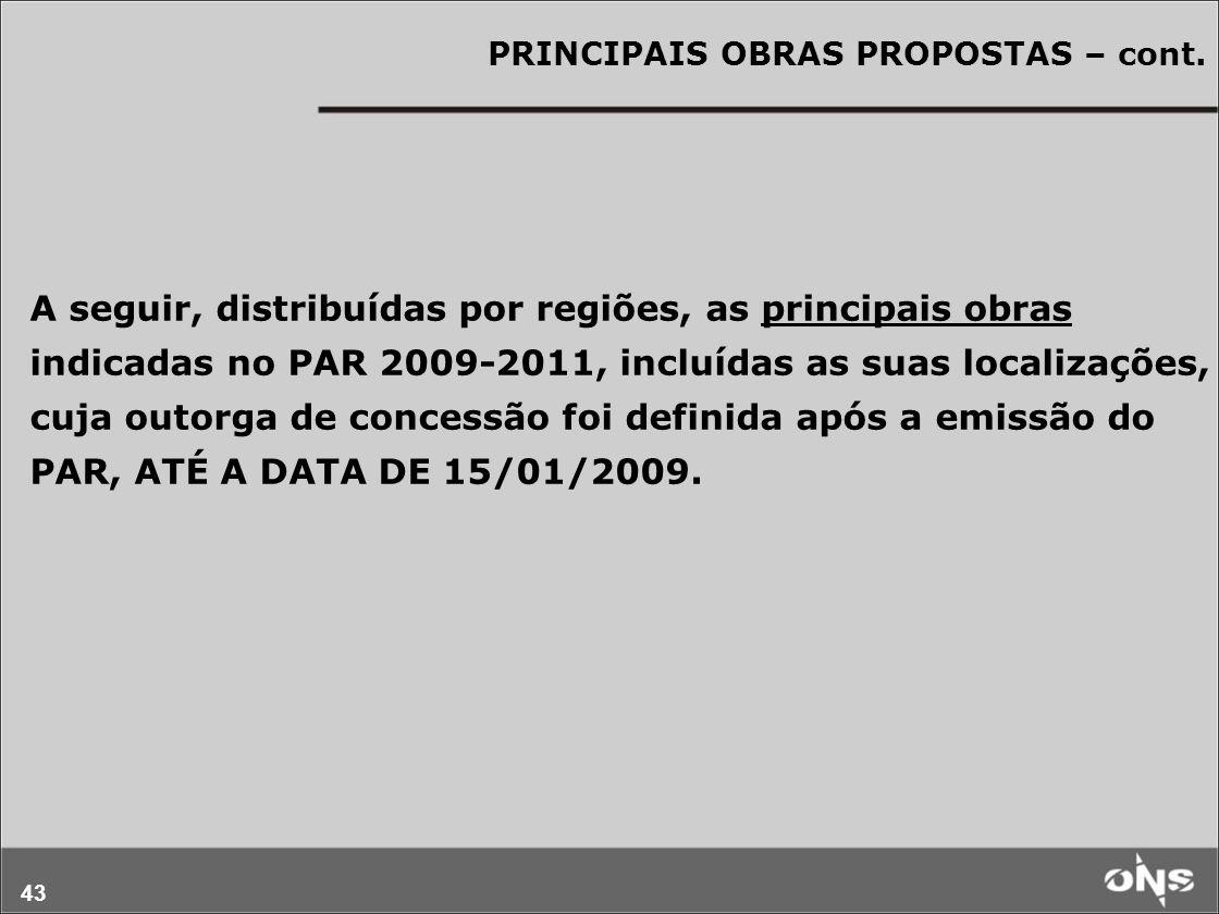 PRINCIPAIS OBRAS PROPOSTAS – cont.