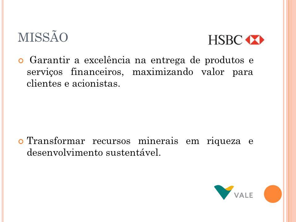 MISSÃOGarantir a excelência na entrega de produtos e serviços financeiros, maximizando valor para clientes e acionistas.