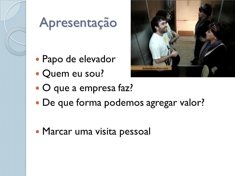 Apresentação Papo de elevador Quem eu sou O que a empresa faz