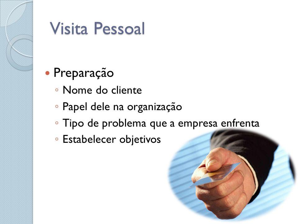 Visita Pessoal Preparação Nome do cliente Papel dele na organização