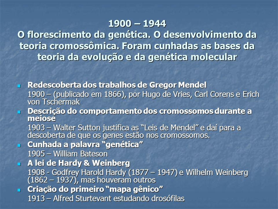 1900 – 1944 O florescimento da genética