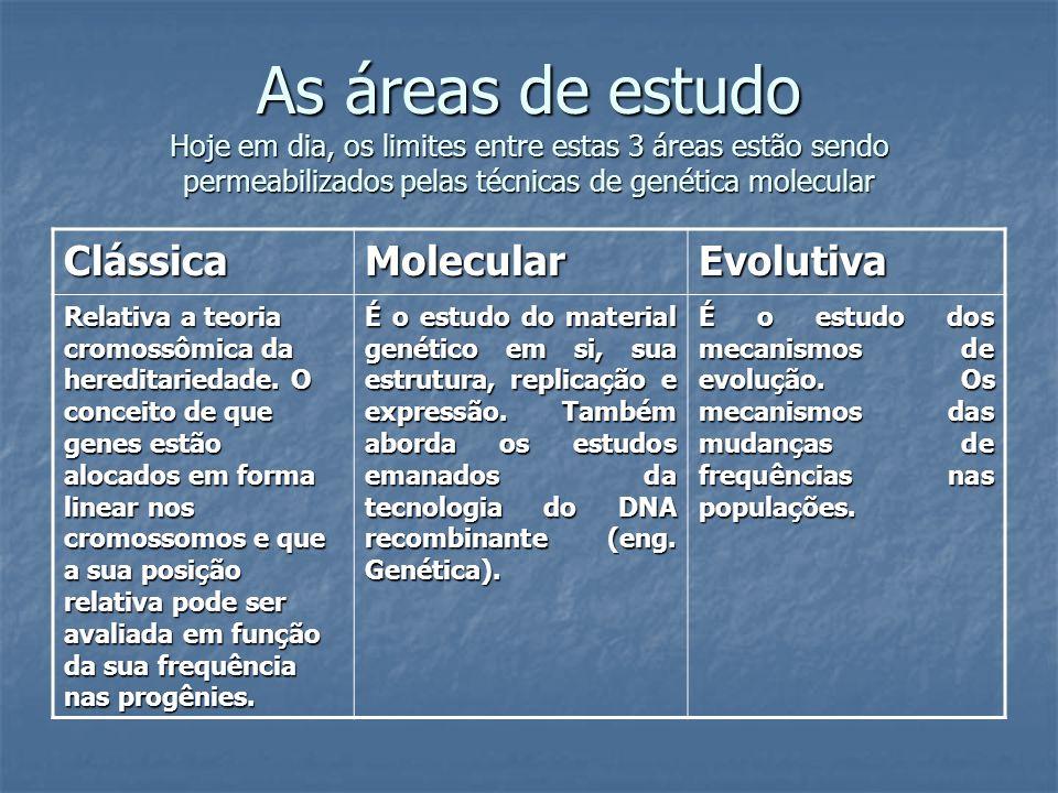 As áreas de estudo Hoje em dia, os limites entre estas 3 áreas estão sendo permeabilizados pelas técnicas de genética molecular