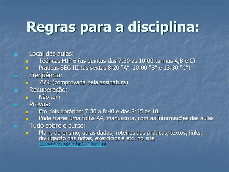 Regras para a disciplina: