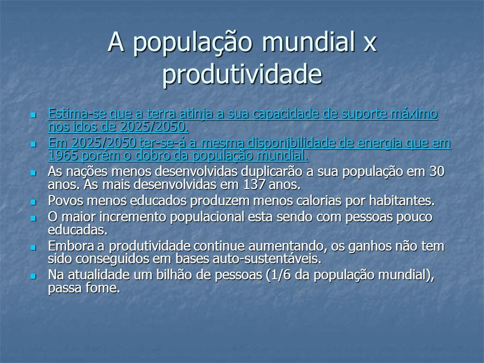A população mundial x produtividade
