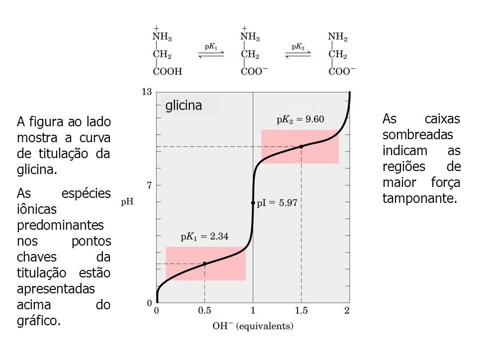 glicinaA figura ao lado mostra a curva de titulação da glicina.