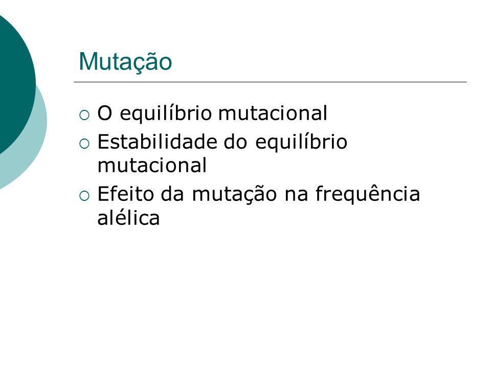 Mutação O equilíbrio mutacional Estabilidade do equilíbrio mutacional