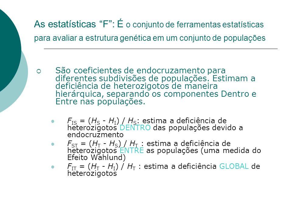 As estatísticas F : É o conjunto de ferramentas estatísticas para avaliar a estrutura genética em um conjunto de populações