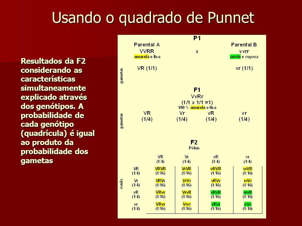 Usando o quadrado de Punnet