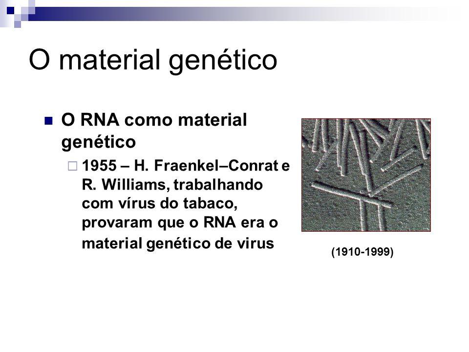 O material genético O RNA como material genético