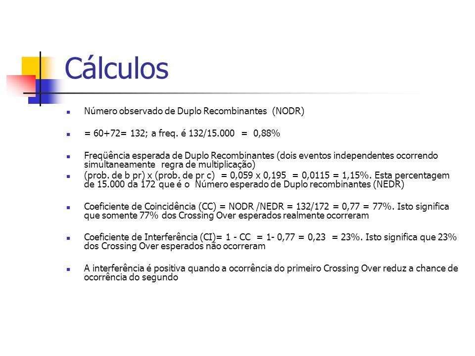 Cálculos Número observado de Duplo Recombinantes (NODR)