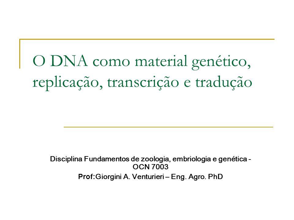 O DNA como material genético, replicação, transcrição e tradução