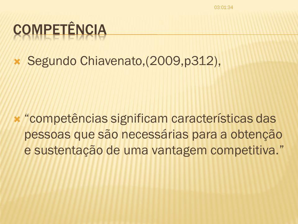 Competência Segundo Chiavenato,(2009,p312),