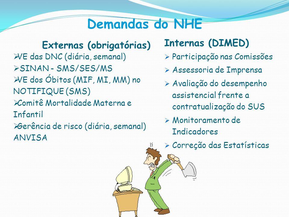 Demandas do NHE Internas (DIMED) Externas (obrigatórias)