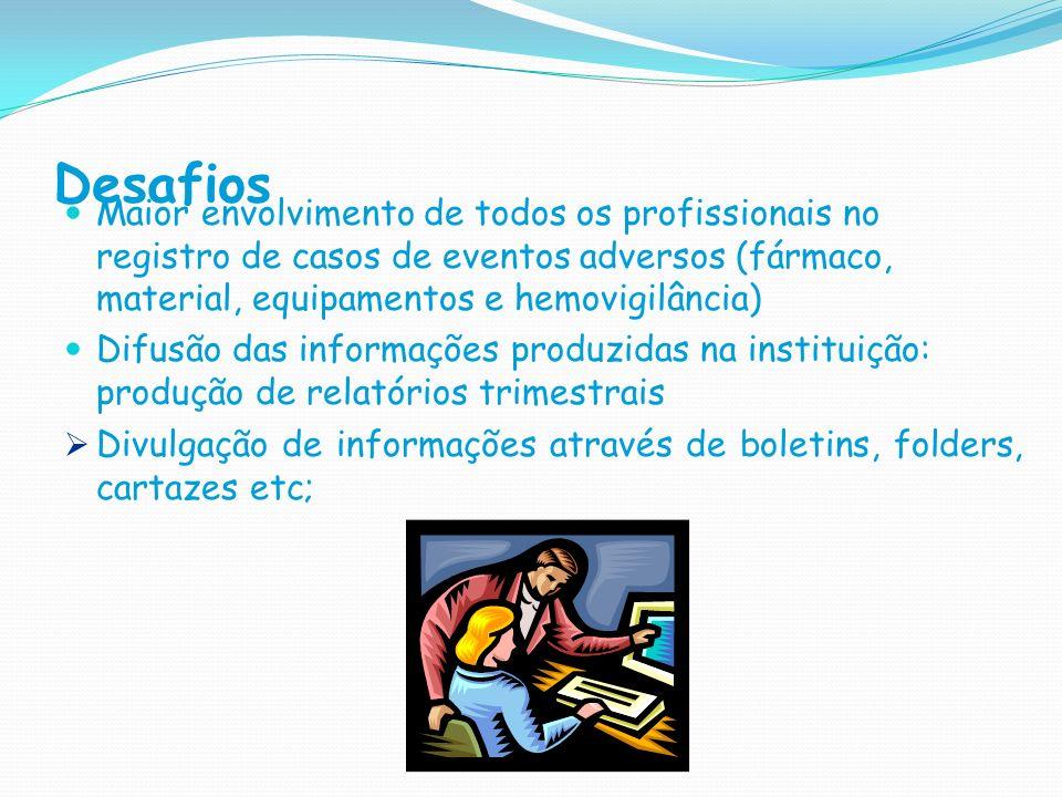 Desafios Maior envolvimento de todos os profissionais no registro de casos de eventos adversos (fármaco, material, equipamentos e hemovigilância)