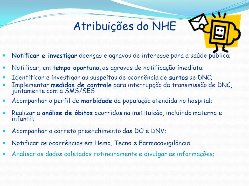 Atribuições do NHE Notificar e investigar doenças e agravos de interesse para a saúde pública;
