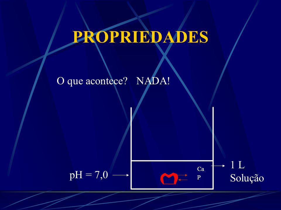 PROPRIEDADES O que acontece NADA! 1 L Solução Ca P pH = 7,0