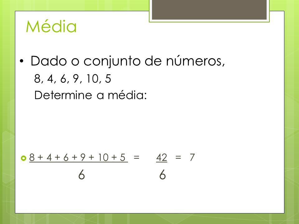 Média Dado o conjunto de números, 6 6 8, 4, 6, 9, 10, 5