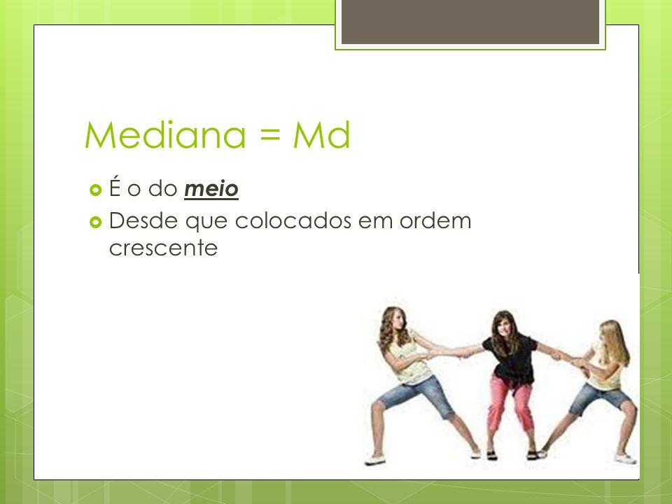 Mediana = Md É o do meio Desde que colocados em ordem crescente