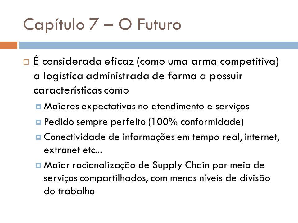 Capítulo 7 – O Futuro É considerada eficaz (como uma arma competitiva) a logística administrada de forma a possuir características como.