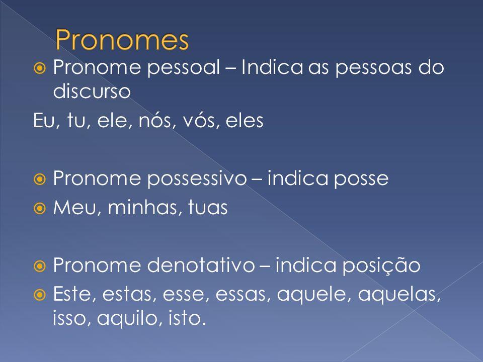Pronomes Pronome pessoal – Indica as pessoas do discurso