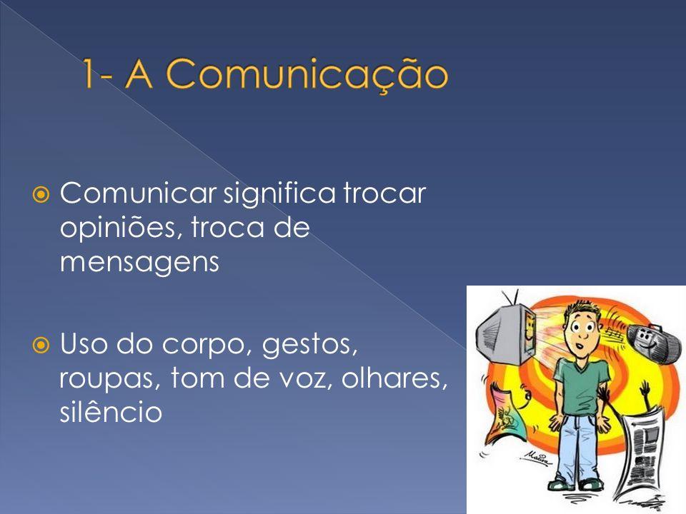 1- A Comunicação Comunicar significa trocar opiniões, troca de mensagens.