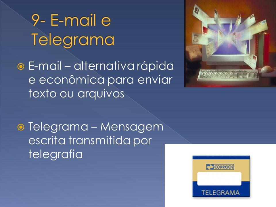 9- E-mail e Telegrama E-mail – alternativa rápida e econômica para enviar texto ou arquivos.