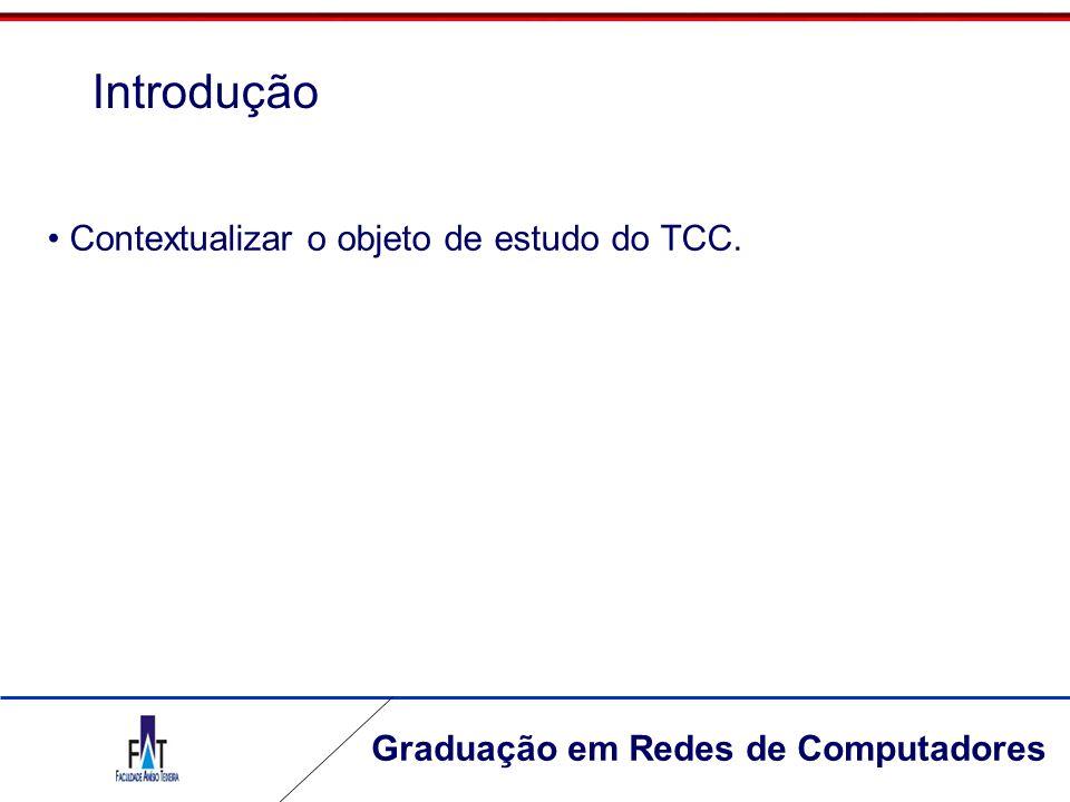Introdução Contextualizar o objeto de estudo do TCC.