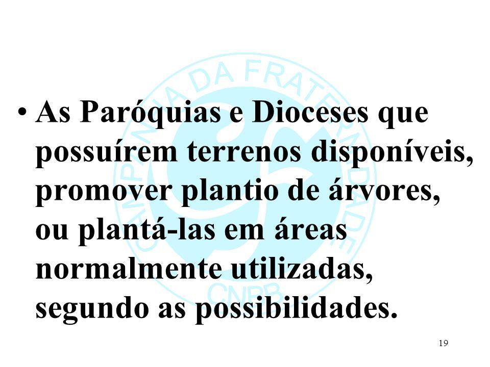 As Paróquias e Dioceses que possuírem terrenos disponíveis, promover plantio de árvores, ou plantá-las em áreas normalmente utilizadas, segundo as possibilidades.