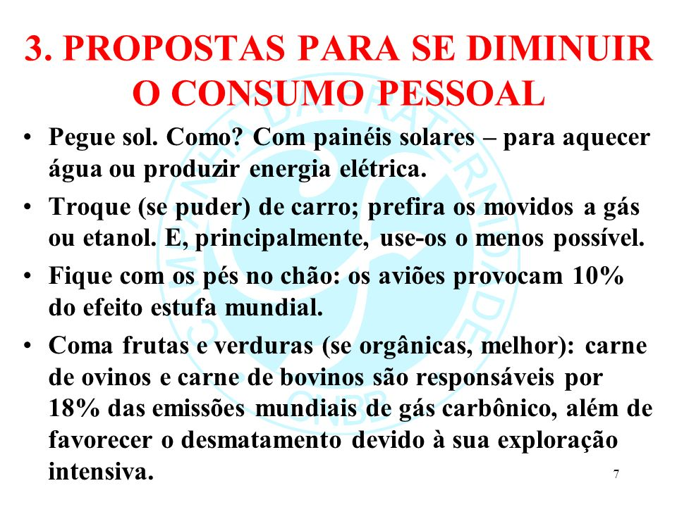 3. PROPOSTAS PARA SE DIMINUIR O CONSUMO PESSOAL