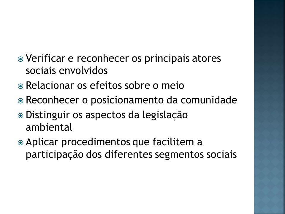 Verificar e reconhecer os principais atores sociais envolvidos