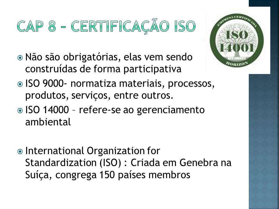 Cap 8 – certificação iso Não são obrigatórias, elas vem sendo construídas de forma participativa.