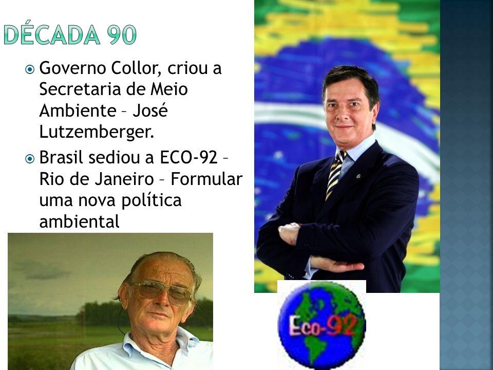 Década 90 Governo Collor, criou a Secretaria de Meio Ambiente – José Lutzemberger.