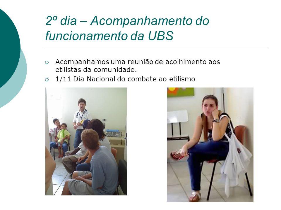 2º dia – Acompanhamento do funcionamento da UBS