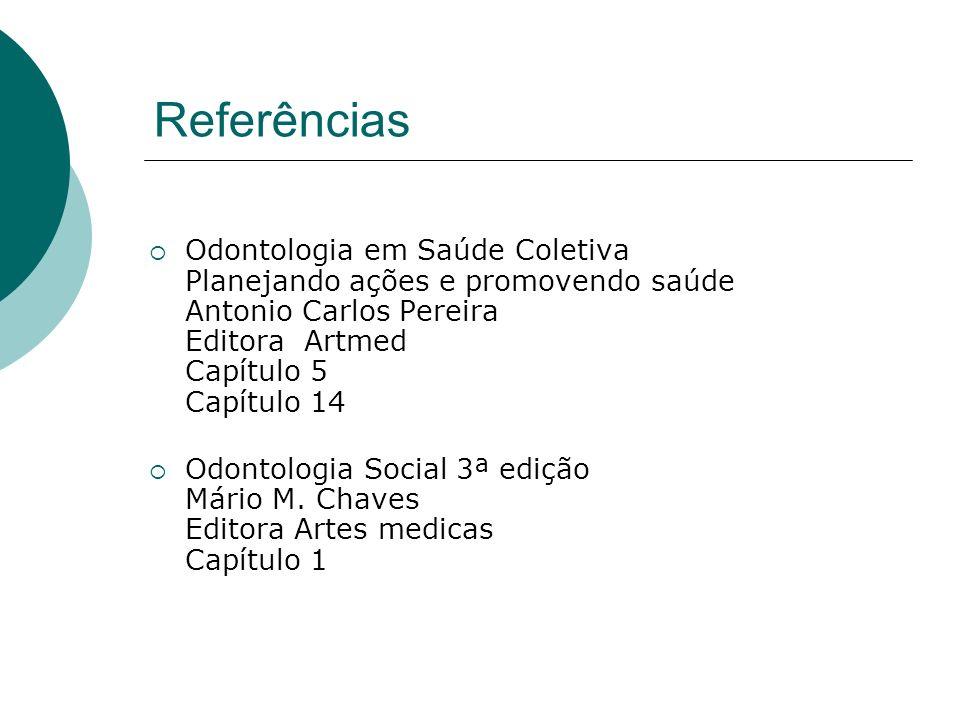 Referências Odontologia em Saúde Coletiva Planejando ações e promovendo saúde Antonio Carlos Pereira Editora Artmed Capítulo 5 Capítulo 14.