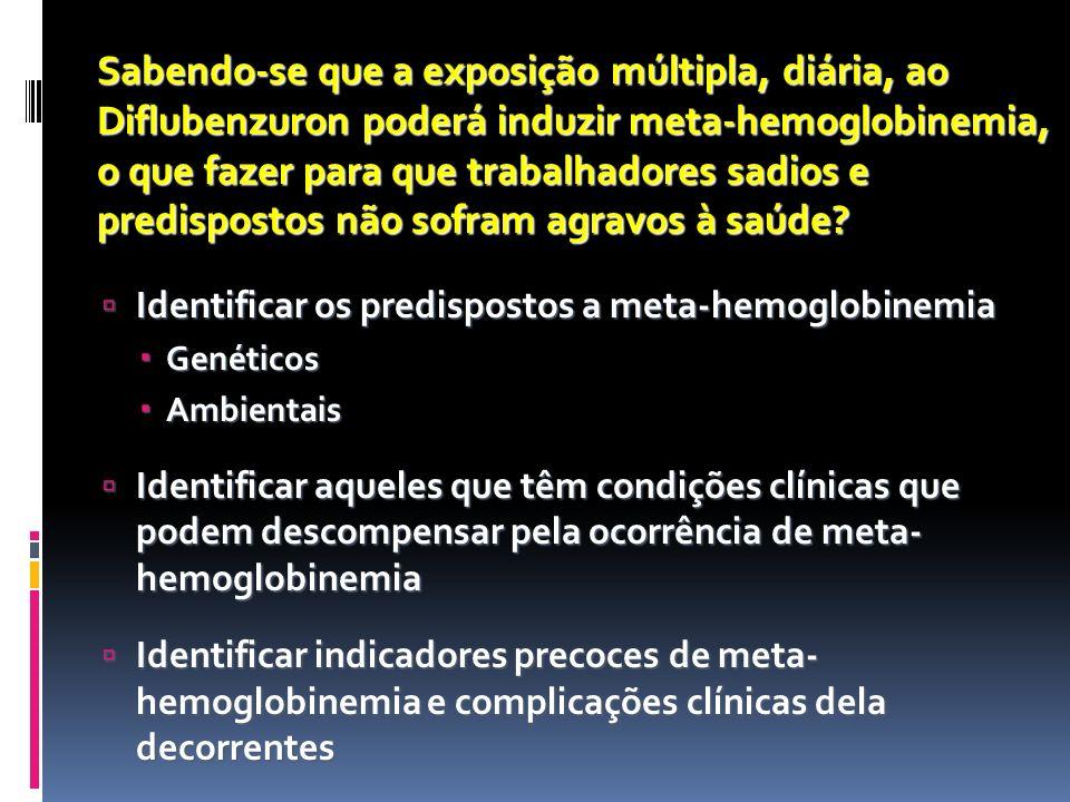 Sabendo-se que a exposição múltipla, diária, ao Diflubenzuron poderá induzir meta-hemoglobinemia, o que fazer para que trabalhadores sadios e predispostos não sofram agravos à saúde