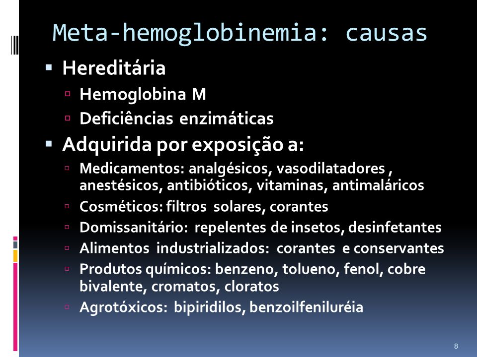 Meta-hemoglobinemia: causas