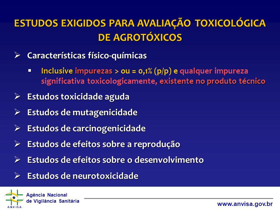 ESTUDOS EXIGIDOS PARA AVALIAÇÃO TOXICOLÓGICA DE AGROTÓXICOS