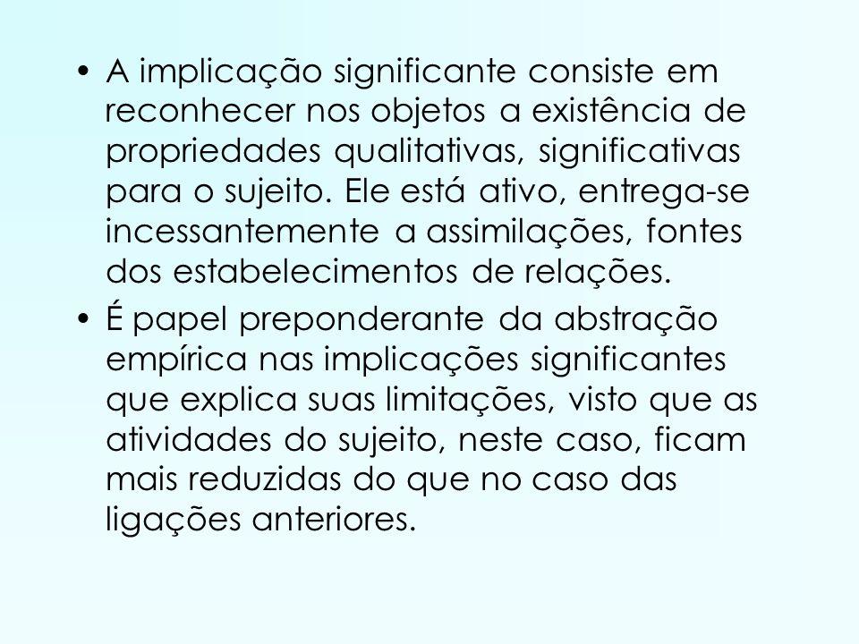 A implicação significante consiste em reconhecer nos objetos a existência de propriedades qualitativas, significativas para o sujeito. Ele está ativo, entrega-se incessantemente a assimilações, fontes dos estabelecimentos de relações.