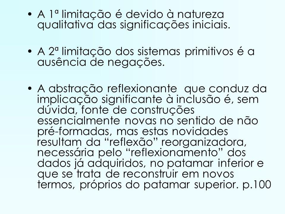 A 1ª limitação é devido à natureza qualitativa das significações iniciais.