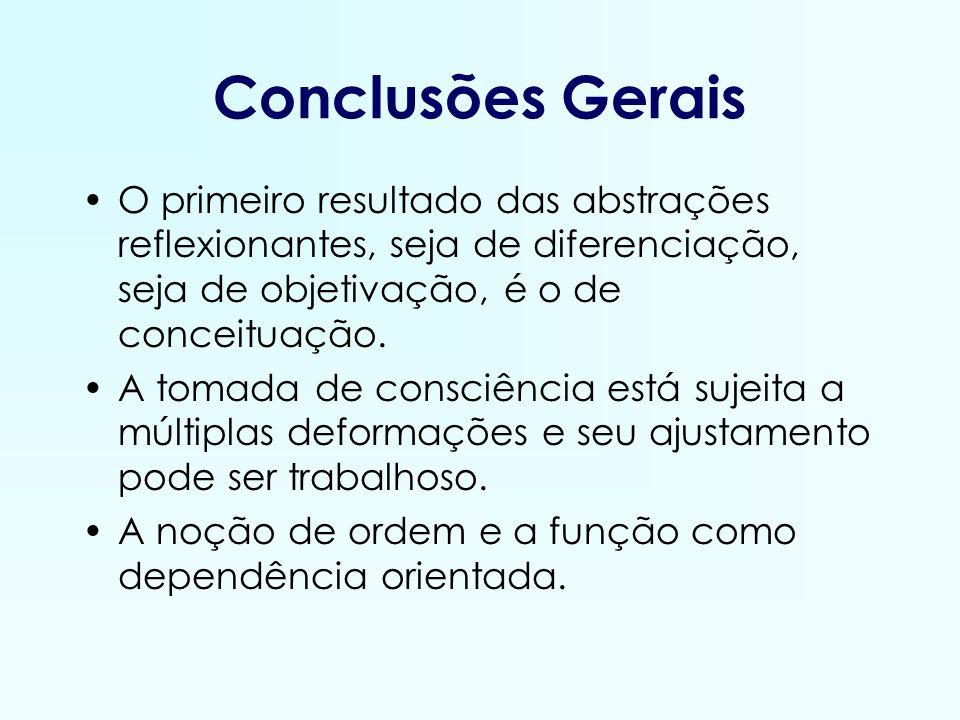 Conclusões Gerais O primeiro resultado das abstrações reflexionantes, seja de diferenciação, seja de objetivação, é o de conceituação.