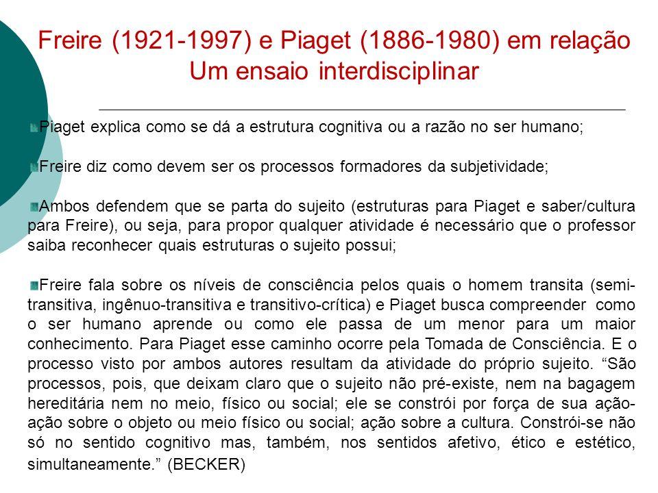 Freire (1921-1997) e Piaget (1886-1980) em relação