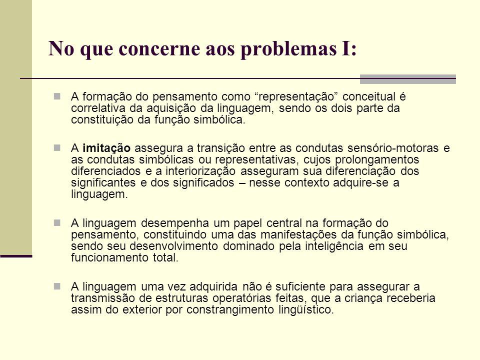 No que concerne aos problemas I: