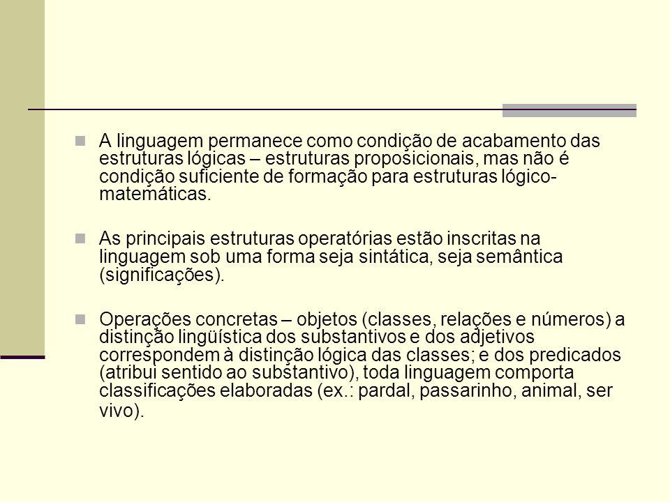 A linguagem permanece como condição de acabamento das estruturas lógicas – estruturas proposicionais, mas não é condição suficiente de formação para estruturas lógico-matemáticas.