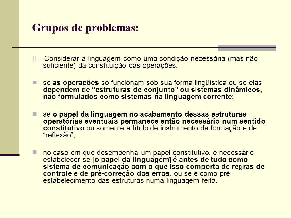 Grupos de problemas:II – Considerar a linguagem como uma condição necessária (mas não suficiente) da constituição das operações.