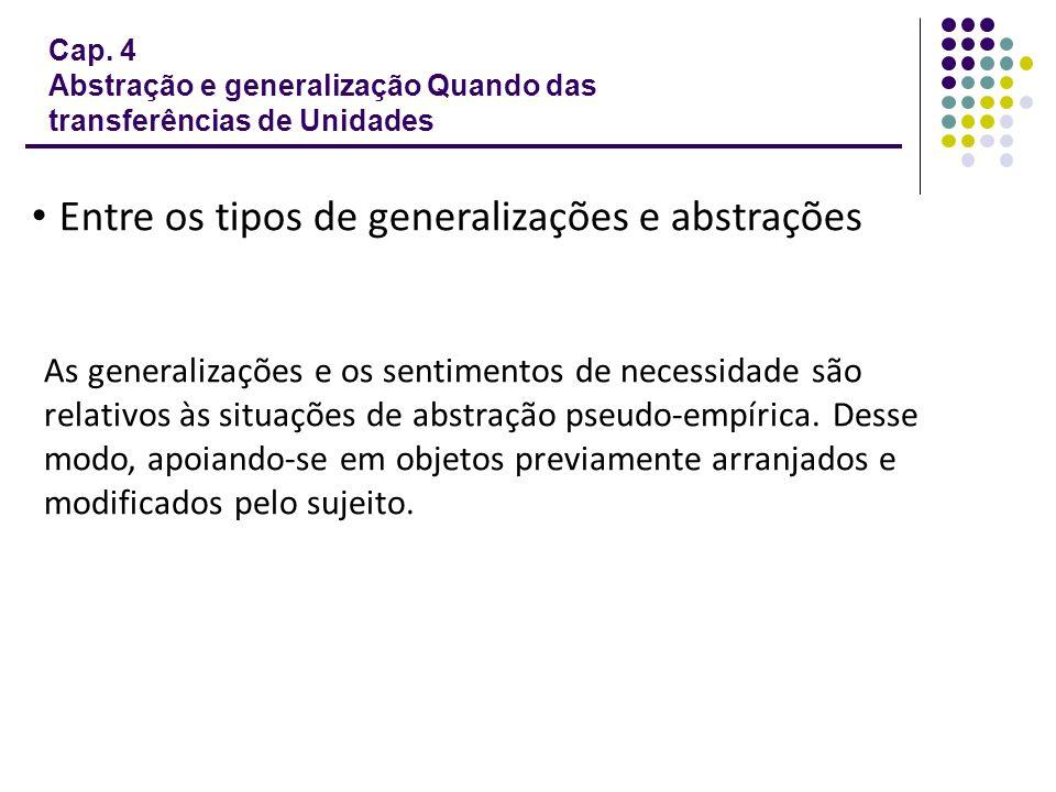 • Entre os tipos de generalizações e abstrações